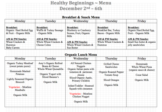 12/2-12/6 Lunch Menu