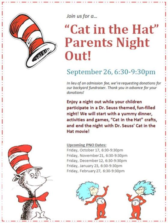 """Cat in the Hat"" Parents Night Out, September 26, 6:30-9:30pm"