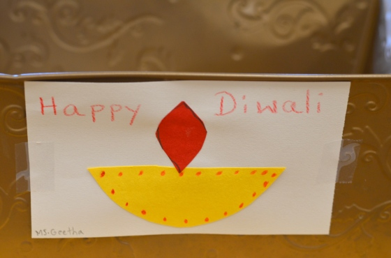 """Diwali works"" were added to our art shelf to help celebrate the occasion."