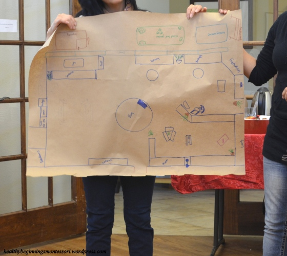 "The teams presented their final blueprints for their ""dream"" Montessori classroom, showing all the components that make up a truly prepared environment."