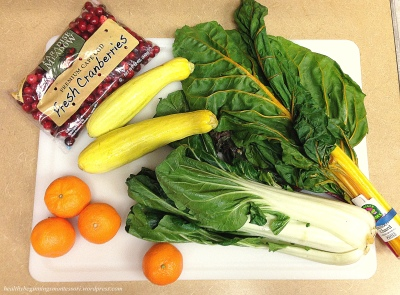 Fresh bokchoy, yellow squash, rainbow chard and naval oranges and clementines provided by one of our friends in their weekly fruit and vegetable basket.