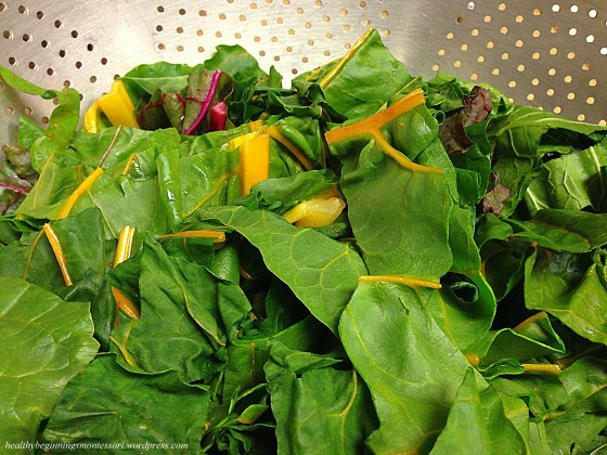 Tasty rainbow chard salad, sauteed with olive oil.