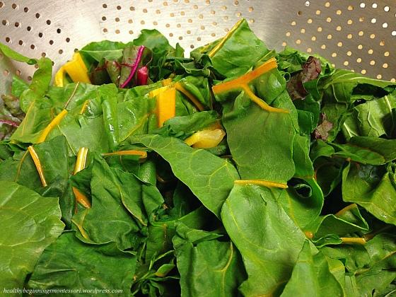 Tasty rainbow chard salad, sauteed with olive oil.