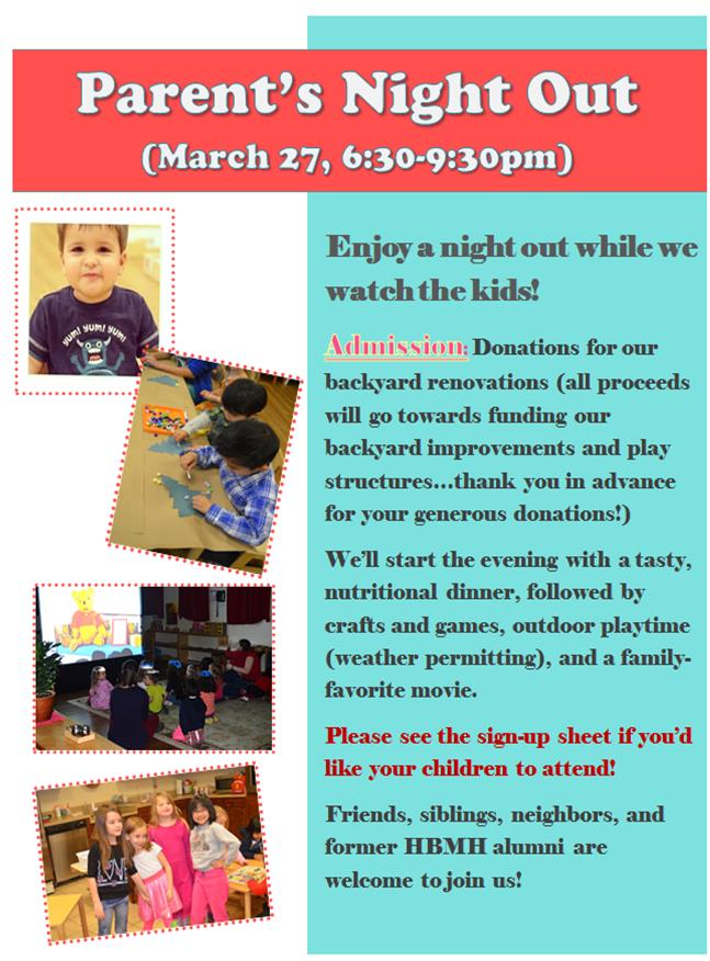 Parent's Night Out, March 27, 6:30-9:30pm