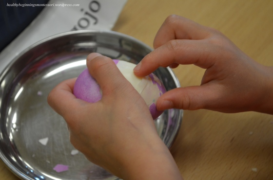 Busy fingers peel the hard boiled eggs for snack time.