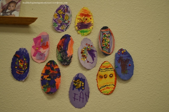 These colorful, pin-pricked eggs adorned our walls all throughout the week.
