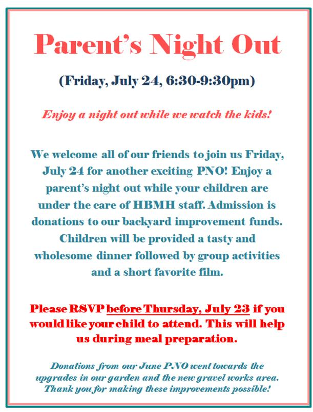 Parent's Night Out, Friday July 24 from 6:30-9:30pm