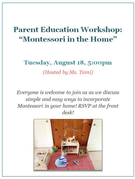 Montessori in the Home PEN Flyer