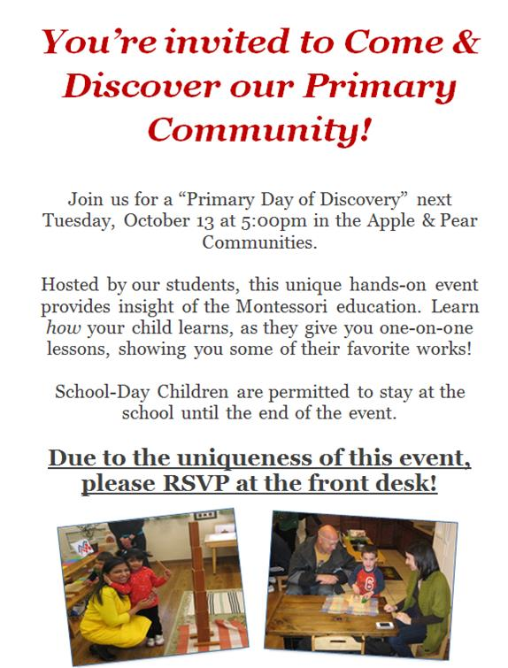 Primary Day of Discovery next Tuesday @ 5pm!