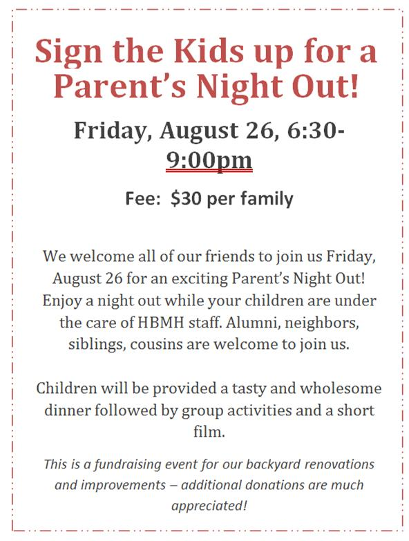 Last Call! Two Spots Still Available for Tonight's Parent's Night Out!