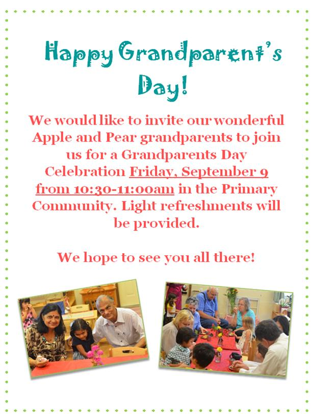 Grandparent's Day Celebration September 9
